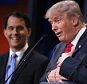 CLEVELAND, OH - AUGUST 06:  Republican presidential candidates Donald Trump (R) and Wisconsin Gov. Scott Walker participate in the first prime-time presidential debate hosted by FOX News and Facebook at the Quicken Loans Arena August 6, 2015 in Cleveland, Ohio. The top-ten GOP candidates were selected to participate in the debate based on their rank in an average of the five most recent national political polls.  (Photo by Chip Somodevilla/Getty Images)