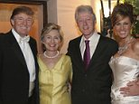 SEE NOTES FOR FEE**  Caption:PALM BEACH, FL: Newlyweds Donald Trump Sr. and Melania Trump with Hillary Rodham Clinton and Bill Clinton at their reception held at The Mar-a-Lago Club in January 22, 2005 in Palm Beach, Florida. (Photo by Maring Photography/Getty Images/Contour by Getty Images)