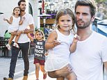 "UK CLIENTS MUST CREDIT: AKM-GSI ONLY\nEXCLUSIVE: Calabasas, CA - Scott Disick continues to hit the campaign trail, hoping for a last minute victory over a very hot looking Kourtney Kardashian.  Scott appears to be doing everything possible to be the family man Kourtney  seeks, taking the kids out to dinner, not drinking, and even slightly smiling for the paparazzi!  Scott took Mason and Penelope out for pizza at Fresh Brothers in Los Angeles.  Mason sporting a ""We will rock you!"" campaign tee, red shorts, and leg tattoos.\n\nPictured: Scott Disick, Mason Dash Disick and Penelope Disick\nRef: SPL1097985  070815   EXCLUSIVE\nPicture by: AKM-GSI\n\n"