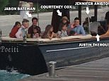 Picture Shows: Amanda Anka, Jason Bateman, Coco Arquette, Courteney Cox, Justin Theroux, Jennifer Aniston, Johnny McDaid  August 07, 2015\n \n **MINIMUM WEB USAGE £500**\n \n Actress Jennifer Aniston and Justin Theroux start their honeymoon and brought along some of their closest friends for the trip in Bora Bora. \n \n The couple wed in a ceremony at their Bel Air home on Wednesday night in front of 75 of their friends and family and apparently decided to keep the party rolling and brought some of them along for their honeymoon! \n \n **MINIMUM WEB USAGE £500**\n \n Exclusive  All round\n UK RIGHTS ONLY\n \n Pictures by : FameFlynet UK © 2015\n Tel : +44 (0)20 3551 5049\n Email : info@fameflynet.uk.com