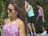 EXCLUSIVE: Mark Wright and Michelle Keegan-Wright are spotted after a workout in Los Angeles. The newlyweds were both kitted out head to toe in colourful Nike running gear and carrying Apple iPhones.