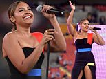 BRISBANE, AUSTRALIA - AUGUST 07: Jessica Mauboy performs live before the round 22 NRL match between the Brisbane Broncos and the Canterbury Bulldogs at Suncorp Stadium on August 7, 2015 in Brisbane, Australia.  (Photo by Bradley Kanaris/Getty Images)