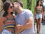 ***Not Available as part of a subscription until 22:00 BST on the 10/08/15 - Fee set at £150 for the set until this time*** EXCLUSIVE Mark Wright and Michelle Keegan seen going for lunch together Cafe Med on Sunset Blvd Featuring: Mark Wright, Michelle Keegan Where: Los Angeles, California, United States When: 03 Aug 2015 Credit: WENN.com