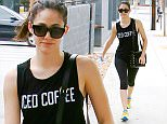 EXCLUSIVE TO INF.\nAugust 8, 2015: Emmy Rossum wears a shirt that says 'Iced Coffee' while off to the gym in Los Angeles, CA.\nMandatory Credit: Fresh/INFphoto.com Ref.: infusla-283