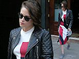 Actress Kristen Stewart, wearing a red, black and white dress with leather jacket and gray shoes, leaves Greenwich Hotel in New York City on August 10, 2015  Pictured: Kristen Stewart Ref: SPL1098907  100815   Picture by: Christopher Peterson/Splash News  Splash News and Pictures Los Angeles: 310-821-2666 New York: 212-619-2666 London: 870-934-2666 photodesk@splashnews.com