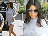 Kendall Jenner shows off her amazing stems in an incredibly short long-sleeved minidress as she goes to a business meeting at Andaz Hotel in West Hollywood