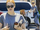 UK CLIENTS MUST CREDIT: AKM-GSI ONLY\nEXCLUSIVE: Emma Stone does some grocery shopping with a girlfriend at Pavilions grocery store in Pacific Palisades, California.\n\nPictured: Emma Stone\nRef: SPL1098209  080815   EXCLUSIVE\nPicture by: AKM-GSI \n\n