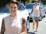 """""""Orange Is The New Black"""" star Ruby Rose is all smiles as she heads to a business meeting in Studio City wearing daisy dukes shorts in a hot day in California.\nFeaturing: Ruby Rose\nWhere: Studio City, California, United States\nWhen: 08 Aug 2015\nCredit: Cousart/JFXimages/WENN.com"""