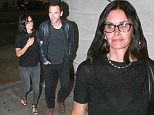UK CLIENTS MUST CREDIT: AKM-GSI ONLY\nEXCLUSIVE: **SHOT ON 8/08/15** West Hollywood, CA - Actress Courteney Cox and fiance Johnny McDaid enjoy a beautiful night out in West Hollywood at the Largo to see Snow Patrol bandmate Gary Lightbody put on a show. The Cougar Town star was thought to be spending time in Bora Bora after attending best friend, Jennifer Aniston's, nuptials with Justin Theroux. Gary Lightbody was spotted outside greeting fans and dressed casually in a grey t-shirt and denim jeans.\n\nPictured: Courteney Cox, Johnny McDaid\nRef: SPL1098571  090815   EXCLUSIVE\nPicture by: AKM-GSI \n\n