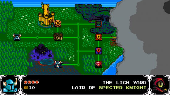 Shovel Knight finds its inspiration in the past, such was a Super Mario Bros style world map.