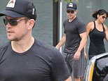 West Hollywood, CA - The couple who works out together stays together! Actor Matt Damon and wife Luciana Barroso are each other's spotter as they were seen exiting Rise Movement in West Hollywood after an intense workout. \n  \nAKM-GSI         August 10, 2015\nTo License These Photos, Please Contact :\nSteve Ginsburg\n(310) 505-8447\n(323) 423-9397\nsteve@akmgsi.com\nsales@akmgsi.com\nor\nMaria Buda\n(917) 242-1505\nmbuda@akmgsi.com\nginsburgspalyinc@gmail.com