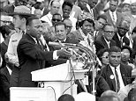 """In this Aug. 28, 1963 photo, The Rev. Dr. Martin Luther King Jr., head of the Southern Christian Leadership Conference, gestures during his """"I Have a Dream"""" speech as he addresses thousands of civil rights supporters gathered in Washington, D.C. Months before the Rev. Martin Luther King Jr. delivered his famous ìI Have a Dreamî speech to hundreds of thousands of people gathered in Washington in 1963, he fine-tuned his civil rights message before a much smaller audience in North Carolina. Reporters had covered Kingís 55-minute speech at a high school gymnasium in Rocky Mount on Nov. 27, 1962, but a recording wasnít known to exist until English professor Jason Miller found an aging reel-to-reel tape in the townís public library. (AP Photo)"""
