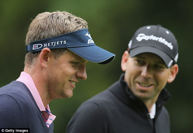 Partners: Garcia played a practise round with friend Luke Donald