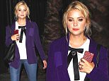 """Hollywood, CA - Ashley Benson and company enjoy a late night out at Warwick Hollywood.  The """"Pretty Little Liars"""" actress looked cute in a purple blazer over a white blouse with black western tie, skinny jeans and a pair of leopard print strappy heels.\nAKM-GSI          August 12, 2015\nTo License These Photos, Please Contact :\nSteve Ginsburg\n(310) 505-8447\n(323) 423-9397\nsteve@akmgsi.com\nsales@akmgsi.com\nor\nMaria Buda\n(917) 242-1505\nmbuda@akmgsi.com\nginsburgspalyinc@gmail.com"""