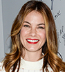 Elegant: Actress Michelle Monaghan looked super chic in navy flares and a smart top as she promoted her new film Pixels at AOL's BUILD Speaker Series on Monday