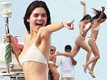 51822367 Kendall Jenner and Hailey Baldwin join Kylie and Pia Mia and friends including Tyga, Joe Francis and his wife as they enjoy a boat party in Mexico on August 12, 2015. The Jenner sisters splashed around, took selfies and laughed the afternoon away with BFFs Hailey and Pia Mia and the girls took turns taking dangerous jumps off the top of the boat, while Joe Francis looked on nervously. NO INTERNET USE WITHOUT PRIOR AGREEMENT FameFlynet, Inc - Beverly Hills, CA, USA - +1 (818) 307-4813