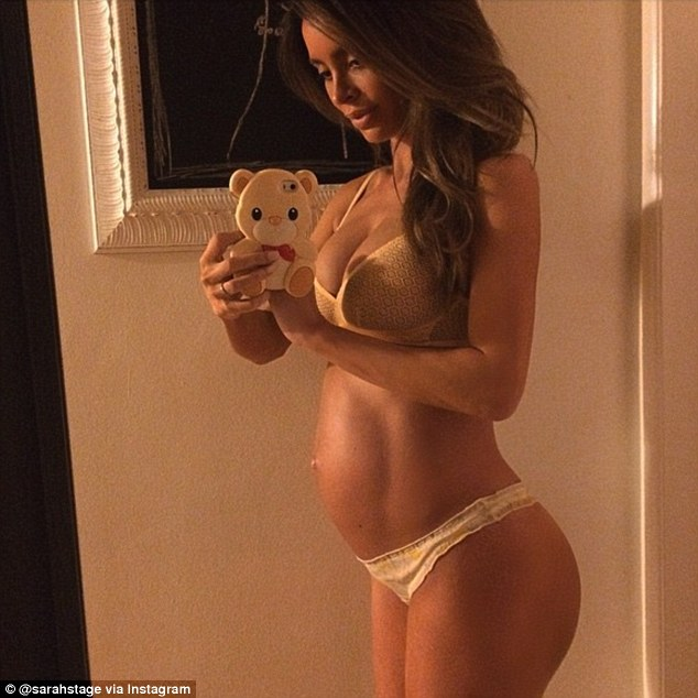 Toned physique: Sarah snapped this photo of herself flaunting her barely-there baby bump at 38 weeks on April 6, only 10 days before she was supposed to give birth to her son
