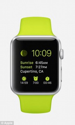 The Apple Watch is available in three models: the Apple Watch, Apple Watch Sport (pictured) and Apple Watch Edition