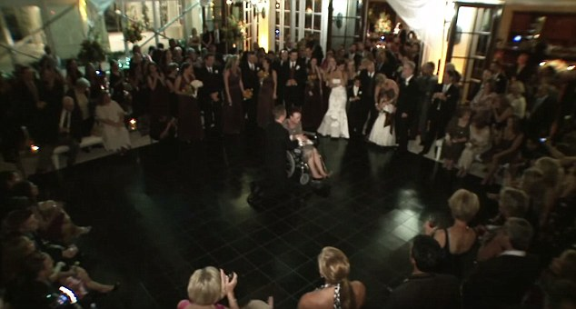 All eyes on her: Luke's gesture brought the entire wedding party to a standstill - and to tears