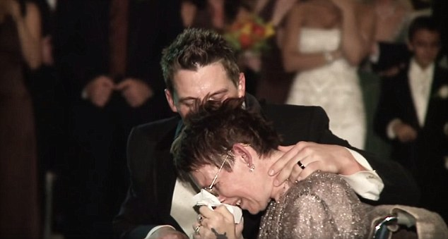 Overcome: Rebekah became emotional during the dance, but her newly wed son comforted her