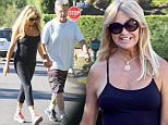 Please contact X17 before any use of these exclusive photos - x17@x17agency.com   Happy couple Goldie Hawn and Kurt Russell spend some quality time together by taking an early morning stroll through Brentwood. Goldie recently returned from Saint Tropez, where she was seen beaching it up with Sylvester Stallone and his family. August 14, 2015 X17online.com EXCLUSIVE