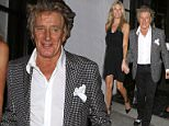 West Hollywood, CA - Rod Stewart and Penny Lancaster leave Spago restaurant hand-in-hand after a dinner with friends. The 70-year-old singer is celebrating after signing on for his fifth year as resident performer at the Colosseum at Casears Palace.  AKM-GSI         August 13, 2015 To License These Photos, Please Contact : Steve Ginsburg (310) 505-8447 (323) 423-9397 steve@akmgsi.com sales@akmgsi.com or Maria Buda (917) 242-1505 mbuda@akmgsi.com ginsburgspalyinc@gmail.com