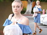 Picture Shows: Dakota Fanning  August 13, 2015    'Please Stand By' actress Dakota Fanning stops to get some food to-go in Sherman Oaks, California.     Dakota looked 70s chic in an off the shoulder dress and platform sandals.    Exclusive - All Round  UK RIGHTS ONLY    Pictures by : FameFlynet UK © 2015  Tel : +44 (0)20 3551 5049  Email : info@fameflynet.uk.com