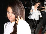 West Hollywood, CA - Selena Gomez and her girlfriends arrive at The Nice Guy in West Hollywood. The 23-year-old pop star wore in a long sleeved white top with a pair of skintight black leather pants and a matching pair of black booties. AKM-GSI         August 13, 2015 To License These Photos, Please Contact : Steve Ginsburg (310) 505-8447 (323) 423-9397 steve@akmgsi.com sales@akmgsi.com or Maria Buda (917) 242-1505 mbuda@akmgsi.com ginsburgspalyinc@gmail.com