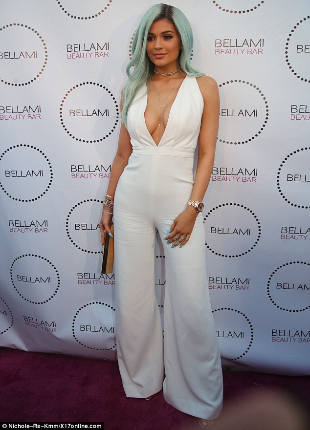 Like a mermaid: Kylie debuted her new look at Bellami Beauty Bar in West Hollywood on Thursday