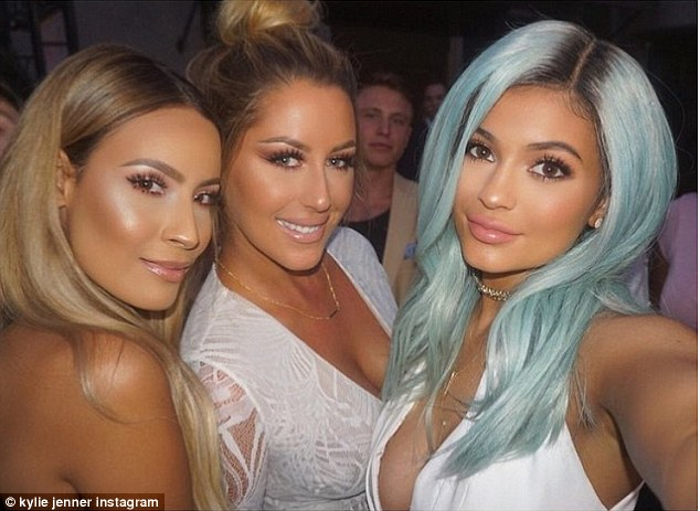 Preened: The youngest Jenner girl shared a selfie with two very glamorous attendees