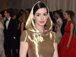 NEW YORK, NY - MAY 04:  Actress Anne Hathaway attends the 'China: Through The Looking Glass' Costume Institute Benefit Gala at the Metropolitan Museum of Art on May 4, 2015 in New York City.  (Photo by Axelle/Bauer-Griffin/FilmMagic)