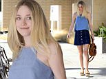 Picture Shows: Dakota Fanning  August 17, 2015\n \n 'Please Stand By' actress Dakota Fanning is spotted out and about in Beverly Hills, California. Dakota was looking cute and casual in a blue sleeveless top, denim mini skirt, platform sandals, and mirrored sunglasses.\n \n Non Exclusive\n UK RIGHTS ONLY\n \n Pictures by : FameFlynet UK © 2015\n Tel : +44 (0)20 3551 5049\n Email : info@fameflynet.uk.com