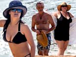 EXCLUSIVE: A bikini clad Salma Hayek and shirtless Pierce Brosnan spend a day at the beach together in Hawaii.