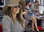 16.AUGUST.2015 - STUDIO CITY - USA\n*STRICTLY AVAILABLE FOR UK AND GERMANY USE ONLY*\nAMERICAN ACTRESS HILARY DUFF IS AN ADORABLE MAMA IN AN OVERSIZED FLOPPY HAT AND SUNGLASSES AS SHE ENJOYS A BEAUTIFUL DAY AT THE FARMERS MARKET IN STUDIO CITY.  HILARY DUFF KEPT  WATCHFUL EYE ON HER LITTLE BOY LUCA COMRIE AS HE WENT ON THE INFLATABLE SLIDE. HILARY WORE A OVERSIZED FLOPPY HAT, SUNGLASSES, GREY SWEATER, DENIM CUFFED SHORTS, A CARTIER BRACELET AND CARRIED A GOYARD TOTE BAG\nBYLINE MUST READ : XPOSUREPHOTOS.COM\n***UK CLIENTS - PICTURES CONTAINING CHILDREN PLEASE PIXELATE FACE PRIOR TO PUBLICATION ***\n*UK CLIENTS MUST CALL PRIOR TO TV OR ONLINE USAGE PLEASE TELEPHONE 0208 344 2007*