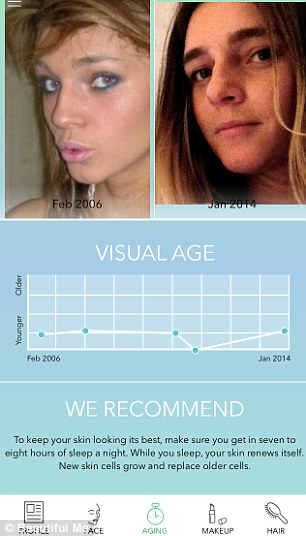 The passage of time: Beautiful Me claims its algorithms can assess your skin over the years (left) using up to 500 auto-downloaded Facebook photos, to help you see how you¿ve aged (right)