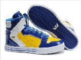 Supra Vaider For Mænd Yellow Patent Leather Blue White Sko - Salg