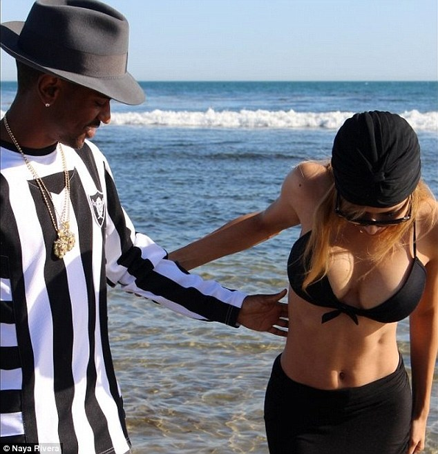 A marked difference: Naya Rivera uploaded this Instagram photo of she and her fiance Big Sean last week showing decidedly larger breasts than she previously had
