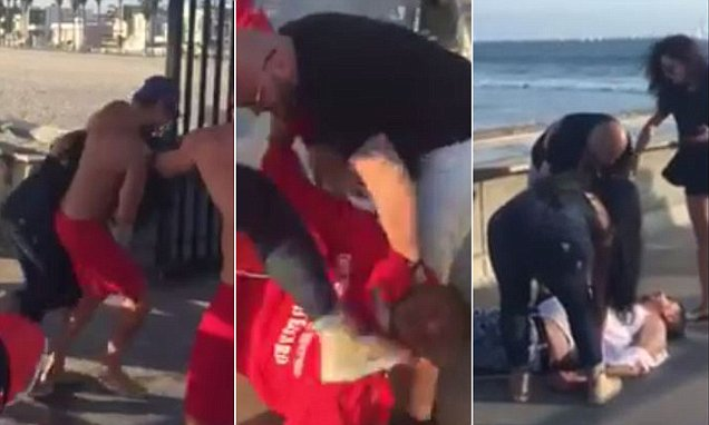 Video sees lifeguard being beaten up on Venice Pier before he fights back