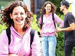 """New York, NY - Katie Holmes smiles and laughs in pure joy while going over a few scenes with a second on-set second director for her directorial debut film, """"All We Had"""".  Katie who is doing double duty for the film as director and starring in it has been putting in long hours to make it really her own.\nAKM-GSI          August 20, 2015\n \nTo License These Photos, Please Contact :\nSteve Ginsburg\n(310) 505-8447\n(323) 423-9397\nsteve@akmgsi.com\nsales@akmgsi.com\nor\nMaria Buda\n(917) 242-1505\nmbuda@akmgsi.com\nginsburgspalyinc@gmail.com"""