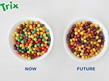 This undated photo combination provided by General Mills shows a bowl of Trix cereal made with artificial colors, left, and a bowl with natural colors, right. Food makers are purging their products of artificial dyes as people increasingly eschew anything in their food they donít feel is natural.  General Mills couldnít find good alternatives for the blue and green pieces in Trix, so the company is getting rid of those colors when the cereal is reformulated later this year. The red pieces, which will be colored with radishes and strawberries. (General Mills via AP)