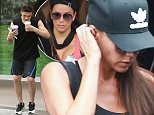 David Beckham, wife Victoria and son Brooklyn attend spin class with Eva Longoria at SoulCycle in Brentwood. August 20, 2015 X17online.com
