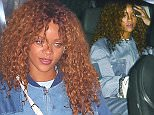 August 19, 2015: Rihanna feeling blue dressed in head to toe denim and sporting a blue manicure as she visits one of her favorite restaurants in Los Angeles, CA.  Mandatory Credit: INFphoto.com Ref: infusla-309