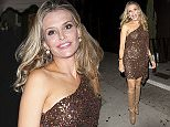 A bleary eyed Brook Mueller  seen leaving 'The Nice Guy' Bar in West Hollywood, CA after celebrating her 38th birthday in a gold dress showing her 'Spanx 'under shorts.  Pictured: Brook Mueller Ref: SPL1103929  190815   Picture by: SPW / Splash News  Splash News and Pictures Los Angeles: 310-821-2666 New York: 212-619-2666 London: 870-934-2666 photodesk@splashnews.com
