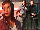 EXCLUSIVE. COLEMAN-RAYNER. \nLos Angeles, CA, USA. August 19, 2015\nJustin Bieber makes what appears to be a drug deal in the rain with actor John Leguizamo while filming for his new 'What Do You Mean' music video. Bieber also filmed a scene with an attractive female co-star inside a room at the Harvard House Motel on Hollywood Blvd.\nCREDIT LINE MUST READ: Karl Larsen/Coleman-Rayner\nTel US (001) 323 545 7584 - Mobile\nTel US (001) 310 474 4343 - Office\nwww.coleman-rayner.com