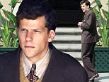 """Actor Jesse Eisenberg wearing vintage clothes for his new role in the """"Woody Allen Secret Project"""" filming in Pasadena Ca.\nFeaturing: Jesse Eisenberg\nWhere: Pasadena, California, United States\nWhen: 19 Aug 2015\nCredit: Cousart/JFXimages/WENN.com"""