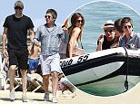 Bono, his wife, Noel Gallagher, Sacha Baron Cohen and his girlfriend at Club 55 in Saint Tropez. 8/19/2015  Pictured: Noel Gallagher, Sacha Baron Cohen Ref: SPL1105610  190815   Picture by: KCS Presse / Splash News  Splash News and Pictures Los Angeles: 310-821-2666 New York: 212-619-2666 London: 870-934-2666 photodesk@splashnews.com