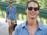Christy Turlington Burns wears a denim top and shorts while walking with a female pal in the Hamptons in Long Island, New York.\n\nPictured: Christy Turlington Burns\nRef: SPL1105315  180815  \nPicture by: Splash News\n\nSplash News and Pictures\nLos Angeles: 310-821-2666\nNew York: 212-619-2666\nLondon: 870-934-2666\nphotodesk@splashnews.com\n