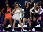 LOS ANGELES, CA - AUGUST 16:  (L-R) Singers  Leigh-Anne Pinnock, Perrie Edwards, Jesy Nelson and Jade Thirlwall of Little Mix perform onstage during the Teen Choice Awards 2015 at the USC Galen Center on August 16, 2015 in Los Angeles, California.  (Photo by Kevin Mazur/Fox/WireImage)