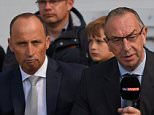 LEEDS, ENGLAND - MAY 30:  Sky commentator David Lloyd (c) and Nasser Hussain speak to Ian Ward (r) during day two of the 2nd Investec test match between England and New Zealand at Headingley on May 30, 2015 in Leeds, England.  (Photo by Stu Forster/Getty Images)