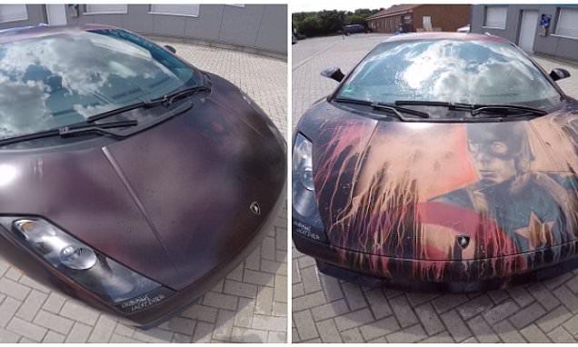 Lamborghini changes colour to reveal a Captain America design